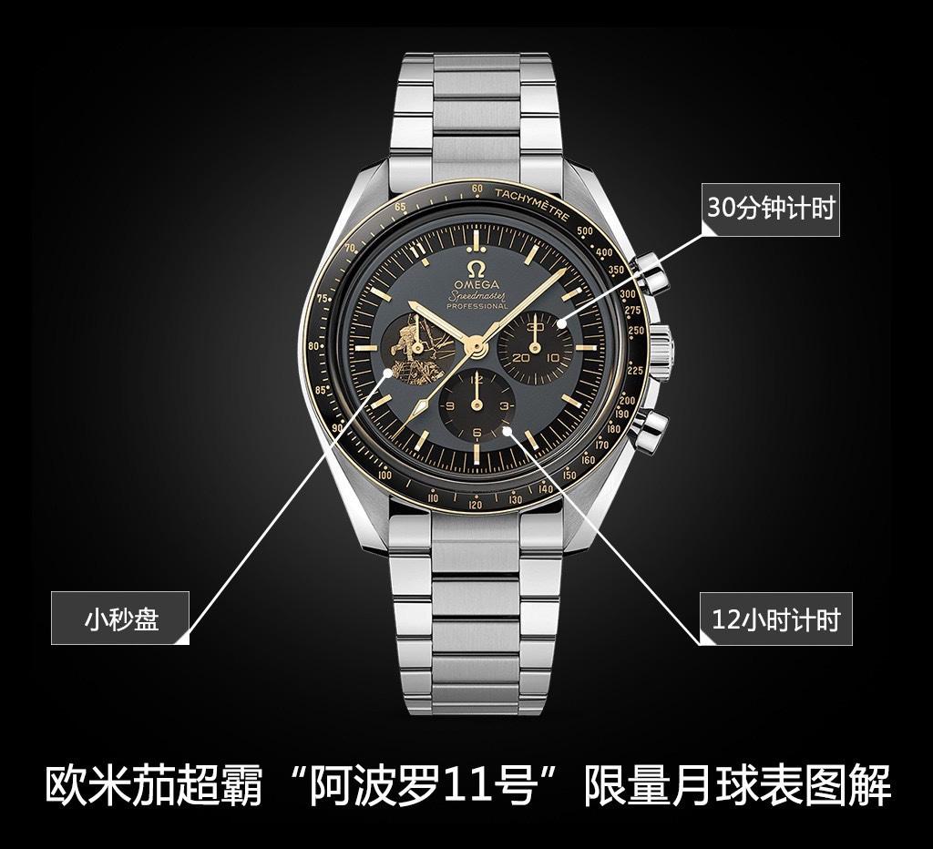 "OM厂欧米茄超霸系列310.20.42.50.01.001""阿波罗11号""50周年限量款复刻手表"